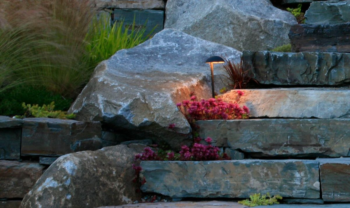 Enjoy the shapes and colors of your landscape throughout the year with lighting. In Harmony Sustainable Landscapes